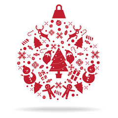 Christmas decoration icon ball vector