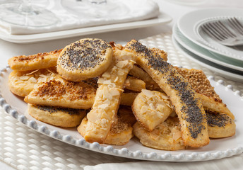 Salty cheese cookies with poppy and sesame seeds
