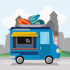 Sea food truck icon. Urban american culture menu and consume theme. Colorful design. Vector illustration