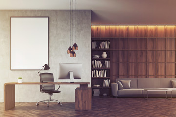 Front view of CEO office with bookcase, toned