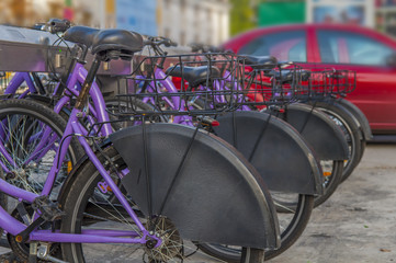 Several bikes for rent in the city