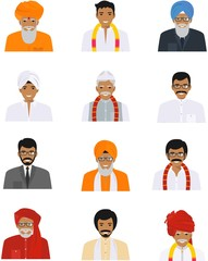 Different indian old and young men characters avatars icons set in flat style isolated on white background. Differences hindu ethnic people smiling faces in traditional clothing. Vector illustration.