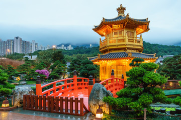 The Pavilion of Absolute Perfection (Golden Pagoda) in Nan Lian Garden at Diamond Hill in Hong Kong