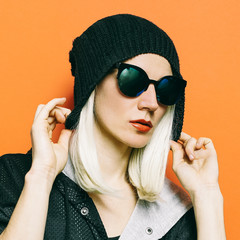 Lady Fashion Swag beanie.Glamorous Sunglasses. Fall Winter Seaso
