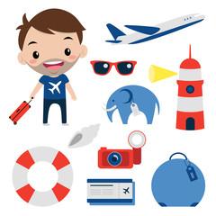 Travel set / Editable cartoon vector illustration