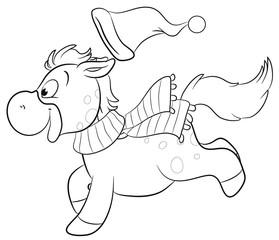 Niedliches Pferd in Winterkleidung