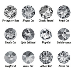 Set of realistic white diamonds with round cuts isolated on white background. Jewel and jewelry. Colorful gems and gemstones. Magna, classic round, royal, zinnia, trap, single, swiss, sphere, zircon