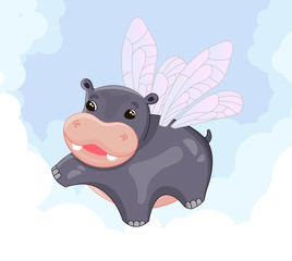 Cute winged hippo flying among the clouds in the sky, vector illustration