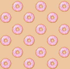 Donut with glazed sprinkles and frosting cream seamless pattern. Sweet tasty icing sugar doughnut. Donuts bakery cake vector icon illustration