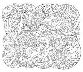 Christmas tree ornament adult coloring page. Vector coloring page with fir tree ornament.