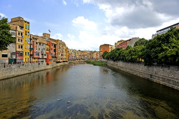Colorful houses along the Onyar River in Girona, Catalonia