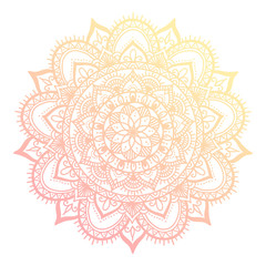 Outline flower mandala. decorative ornament. floral design element. flower vector mandala. hippie stuff. Pink gradient colors.