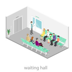 waiting room at the hospital. Visitors sit on the chairs in the corridor. patient waits to receive a doctor.
