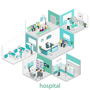 Isometric flat interior of hospital room, pharmacy, doctor's office, waiting room, reception, dentist's office. Doctors treating the patient.Flat 3D illustration