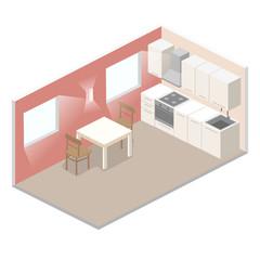 Isometric flat 3D concept vector interior of studio apartments.