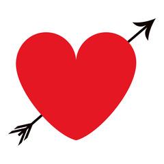 heart cartoon with arrow icon image vector illustration design
