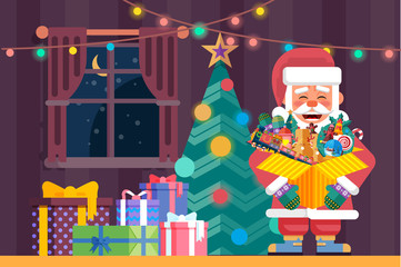 Santa Claus with open box