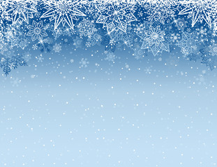 Grey christmas background with snowflakes and stars, vector