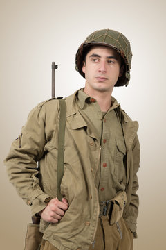 portrait of young American soldier, ww2
