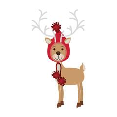 reindeer with christmas woolen hat shape hood vector illustration