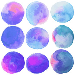Set with vector isolated watercolor paint circles. Pink, purple, blue colors.