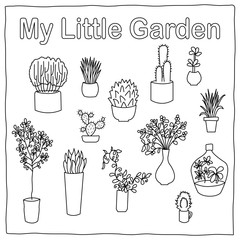 My Little Garden botanical vector illustration. Small cactus and succulent outlined images isolated on whit
