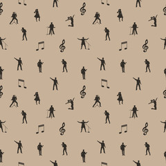 Beige and brown music seamless background. Vector illustration