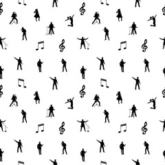 Black and white music seamless background. Vector illustration