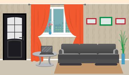 Living room interior including furniture, laptop, window.