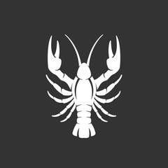 Lobster logo on black background. Vector icon