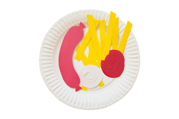 sausage and french fries from a paper. sausage, french fries, ketchup and mayonnaise made of colored paper on a disposable plate. the concept of junk food. isolated on white background, top view