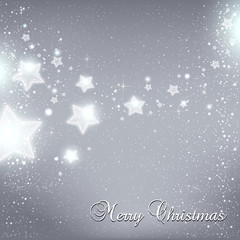 Christmas And New Year star for celebration on grey background with light dots, snowflakes. Vector eps illustration. Xmas card