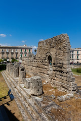 Ruins of the Temple of Apollo in Syracuse, Sicily, Italy. The temple was built in the early 6th century BC and is one of the oldest known Doric temples in Western Europe.