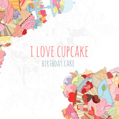 Hand drawn background of doodle style cupcakes