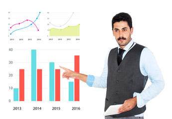 Young mustache businessman giving business presentation