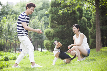 Young couple playing with a cute dog