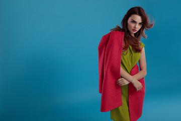 Beautiful Fashion Woman Model In Fashionable Clothes In Studio