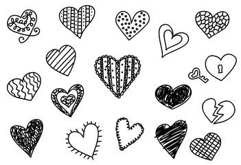 Doodle heart icons set, hand drawn vetor illustrations.