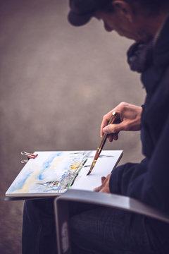 Painter on the street of London