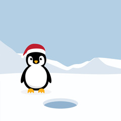 Cute Penguins standing on white snow with Antarctica's winter background. Penguins wearing Santa Claus hat with ice mountain flat design vector illustration.