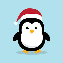 Cute Penguins wearing Santa Claus hat standing on sky blue background flat design vector illustration.