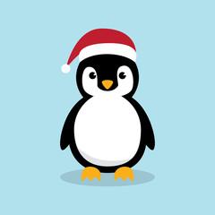 Cute Penguins wearing Santa Claus hat standing on sky blue background flat design vector illustration.