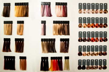 Palette of different colors to hair dye.