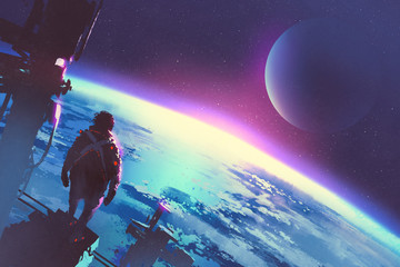 sci-fi concept of the man looking at surface of the earth from a space,illustration painting