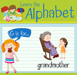Flashcard letter G is for grandmother