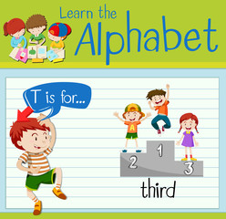 Flashcard letter T is for third