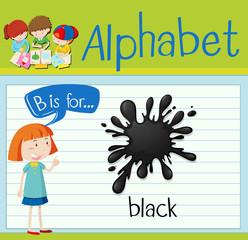 Flashcard letter B is for black