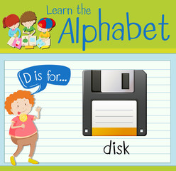 Flashcard letter D is for disk