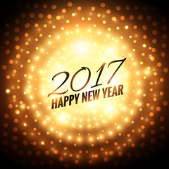2017 new year party celebration background with golden light eff
