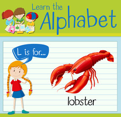 Flashcard letter L is for lobster